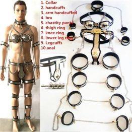 10 In 1 Set Stainless Steel Chastity Belt Bondage kit SQ1093