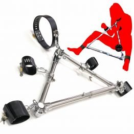 Stainless Steel Triangle Forced Leg Opening Bound Device Bondage Restraints PU Leather Collar Hand Leg Cuffs Fetish SQ1088