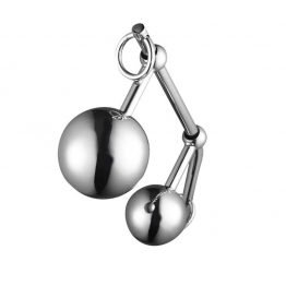 Stainless steel anal hook with two balls Free Shipping SQ10396