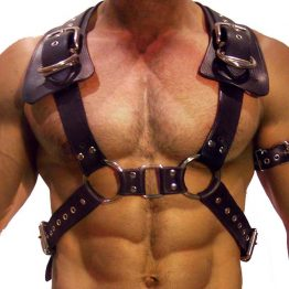 Man Leather Chest Harness Shoulder Adjustable Free Shipping SQ15703